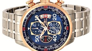 Invicta Men's 17203 AVIATOR Stainless Steel and 18k Rose Gold Ion Plated Watch