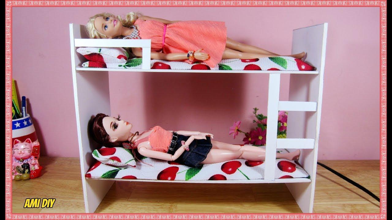DIY How to Make a Doll Bunk Bed / Cách làm giường 2 tầng cho búp bê / Ami DIY
