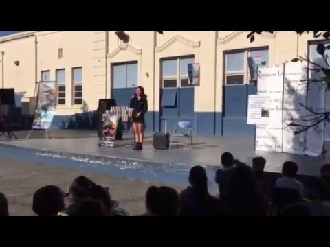 motivational speaker Christie Hsiao speaks to 1000 kids in Los Angeles, California