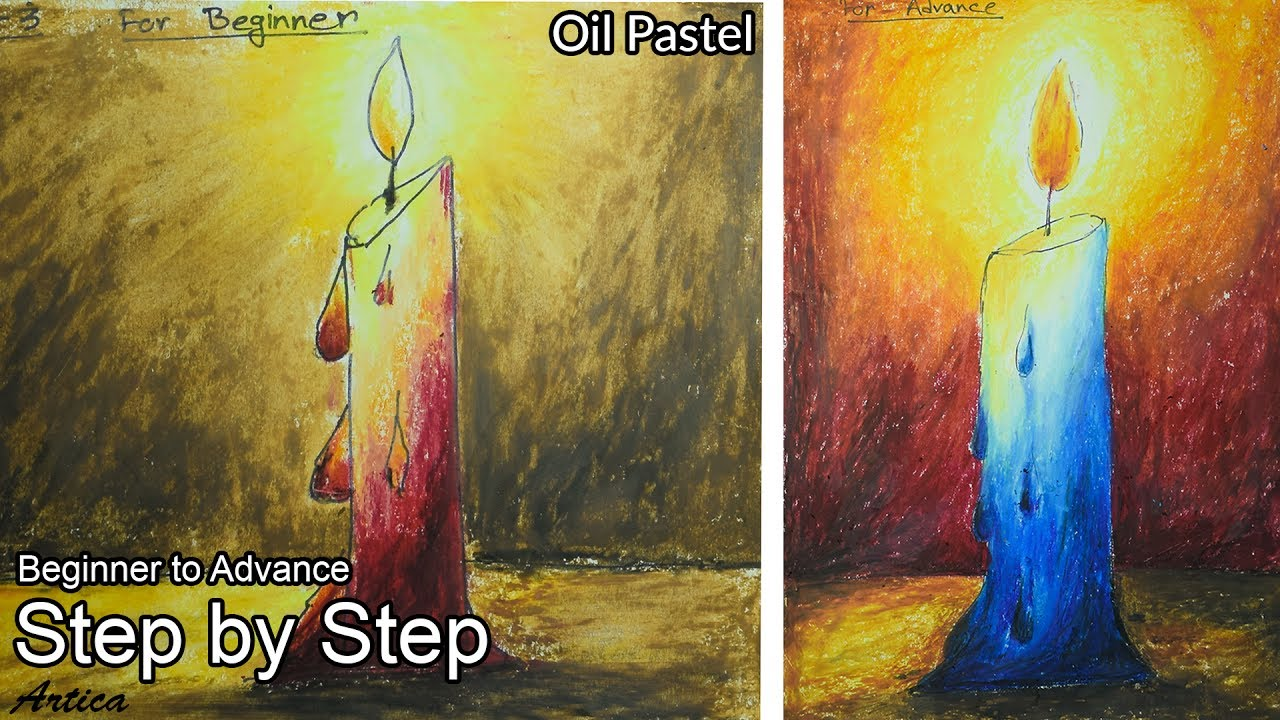 How To Draw A Candle With Oil Pastel Beginner Advance