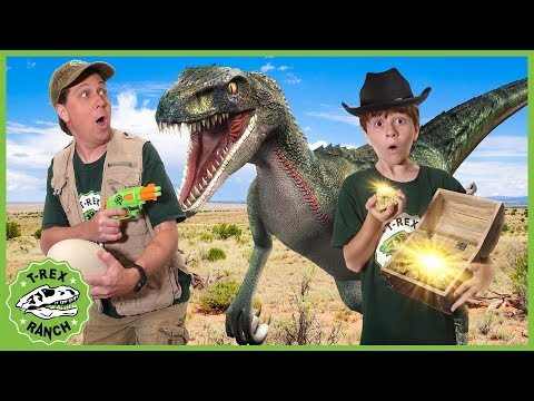 Dinosaurs & Treasure Hunt! Search for Gold Mystery Chest & Raptor Dinosaur Showdown with Nerf Toys