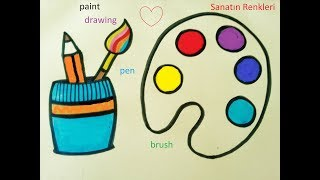 How to Draw Set Artist / Coloring Pages for Children / Palet çizimi
