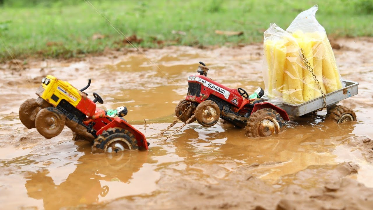 Sonalika And Standard Tractor Heavy Loaded Fryums Stuck in Deep Mud Pulling Out HMT Tractor | CS Toy