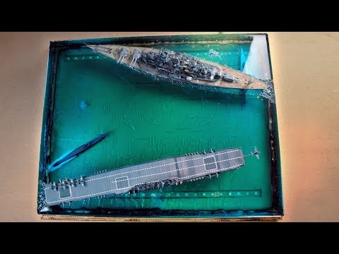 DIORAMA BATTLE OF SHIPS FROM EPOXY RESIN