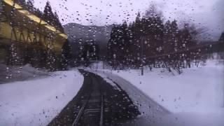 JR北上線 ほっとゆだ→和賀仙人【キハ100系・前面展望・雨天】 2017.03.22 JR Kitakami Line