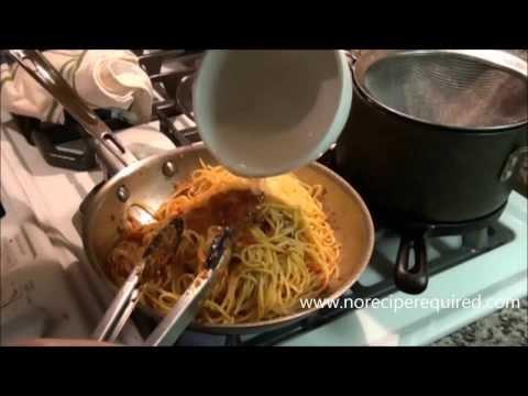 Spaghetti With Sun Dried Tomato Pesto - NoRecipeRequired.com