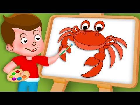Drawing Crab Paint And Colouring For Kids   Kids Drawing TV