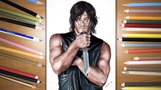 Speed Drawing: Norman Reedus as Daryl Dixon in The Walking Dead TV Series | Jasmina Susak