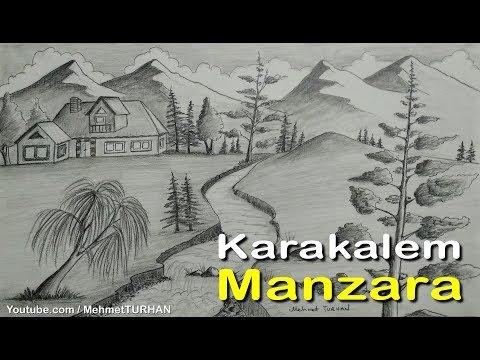 Karakalem Manzara Peyzaj Çizimi Nasıl Yapılır? Landscape Scenery Picture Drawing