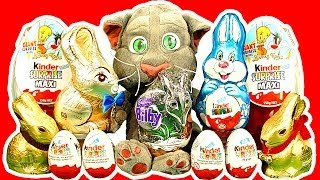 Kinder Surprise Eggs Maxi Egg Easter Bunny Chocolate Talking Tom Cat Smashing Unwrapping
