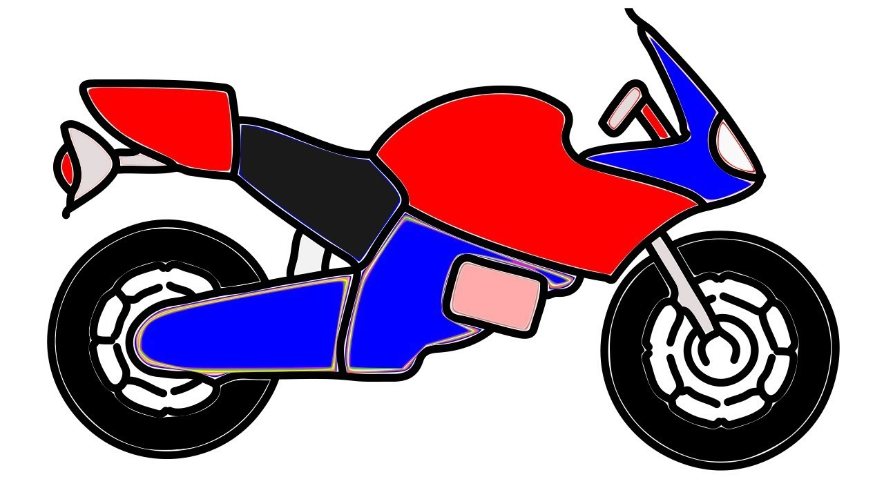How To Draw A Motorcycle Easy Step By Step Youtube