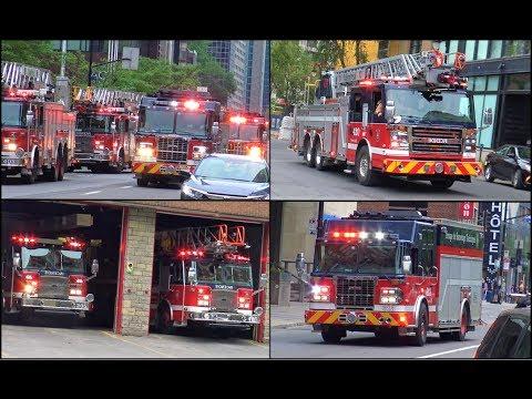 HUGE CONVOYS Of Fire Trucks Responding Code 3 To BUILDING FIRE In Montrèal!