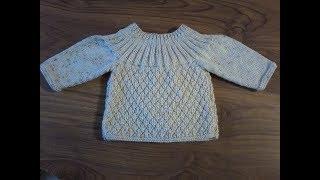 DIY / tuto tricot / tricoter une brassière bébé au  point cloqué