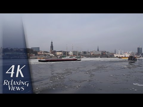 Hamburg, Germany: Elbe River, Harbour, City Skyline, Winter - 4K UHD Relaxing Video