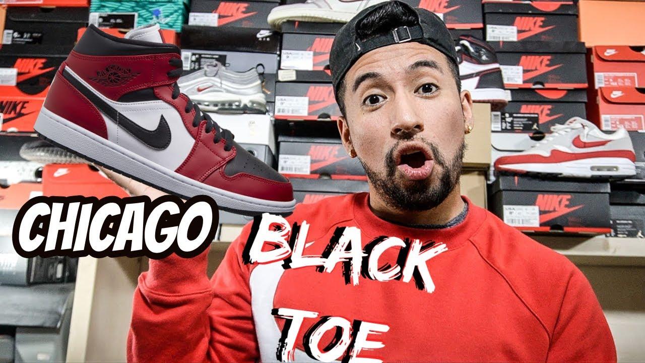 Jordan 1 Mid Chicago Black Toe Review On Feet Youtube