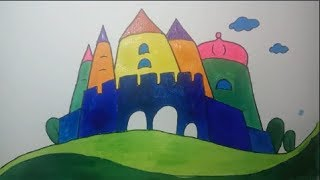 Drawing a castle - learning to draw - children's education video