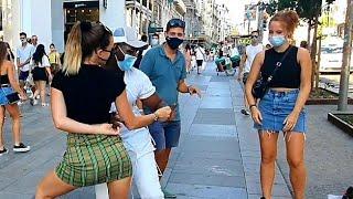 ITALIANAS Y DOMINICANO me sorprenden  bailando Salsa y dembow miren qué sucede