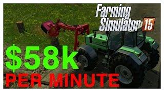Farming Simulator 2015 - $58k/minute Fir Tree Harvesting Method