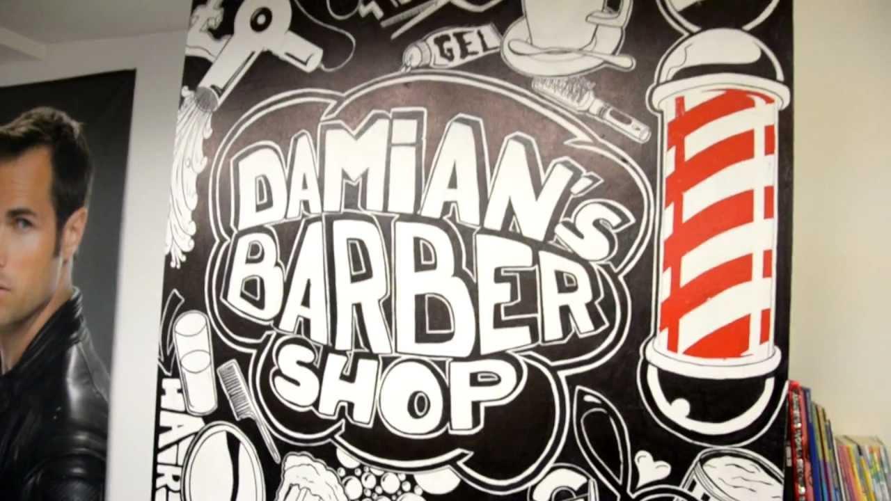Barber Pole Drawing Graffiti drawing at damians barbershop - youtube