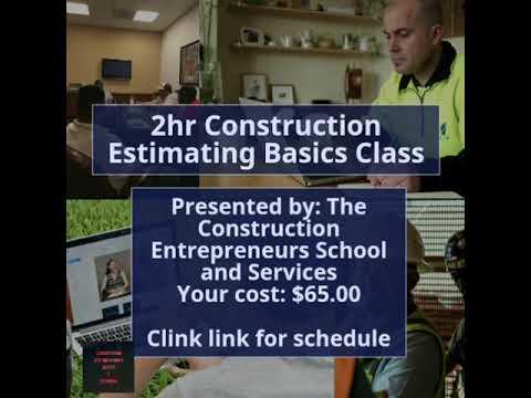 2hr Construction Estimating Basics Class
