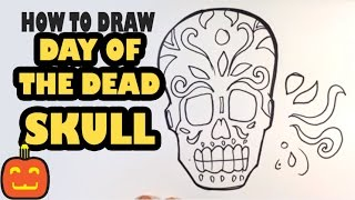 How to Draw a Day of The Dead Skull - Halloween Drawings