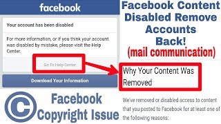 Facebook Content Was Removed Accounts Back | Copyright Issue On Facebook (Latest Problem 2018)