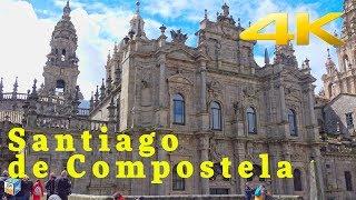 Walk along the narrow streets Santiago de Compostela, Spain