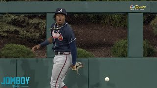 Ronald Acuña Jr  robs Kingery's home run but turns it into an inside the parker, a breakdown