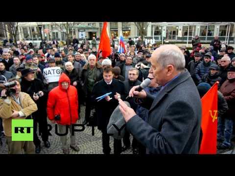 Slovakia: 'No NATO bases in Slovakia' - protesters gather outside Bratislava's US embassy