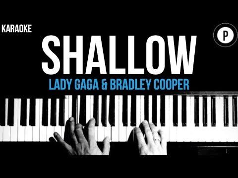 Lady Gaga & Bradley Cooper - Shallow Karaoke SLOWER Acoustic Piano Instrumental Cover Lyrics