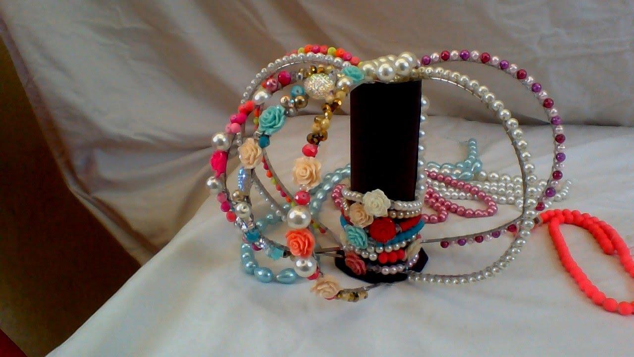 Como hacer una diadema con perlas creaciones rosa isela - Material para hacer diademas ...