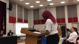Whitney Young gifted academy student Tonna Mockabee tells the Cleveland school board that putting...