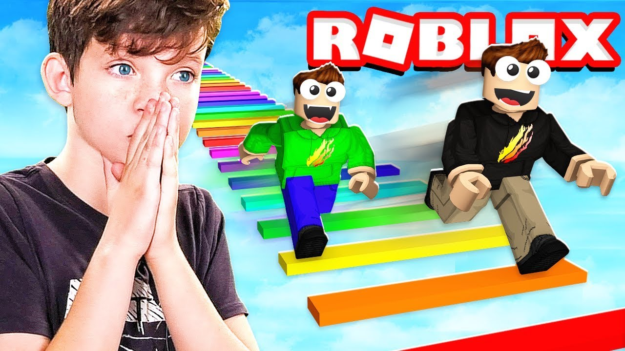 1v1 Rainbow Obby Race With My Little Brother Roblox Youtube
