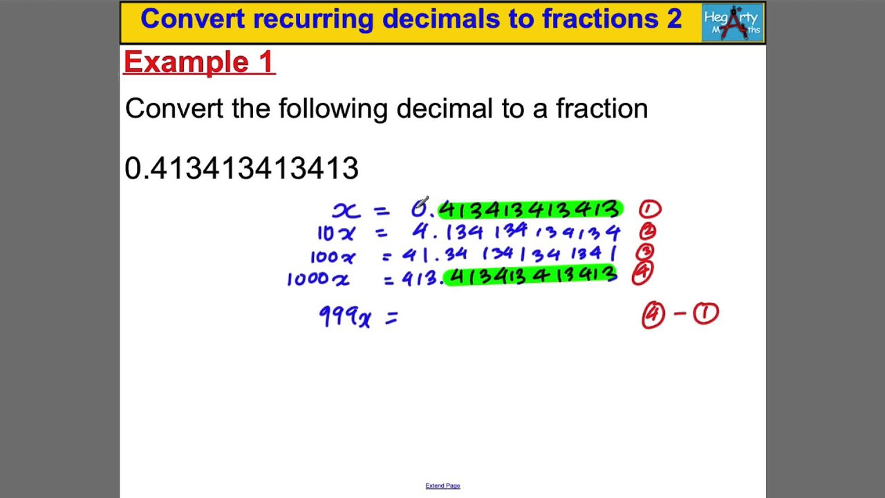 convert recurring decimals to fractions   youtube convert recurring decimals to fractions
