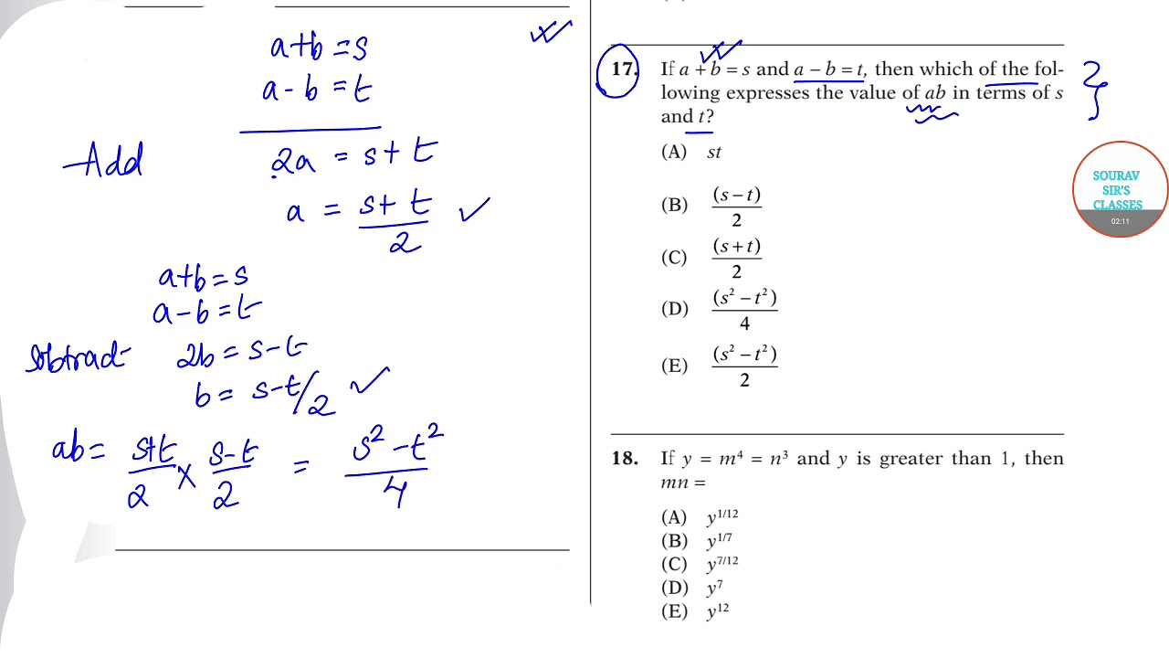 SAT PRACTICE PAPER 2 SECTION 3 ANALYTICAL APPROACH TO QUANTITATIVE APTITUDE  SELECTED QUESTIONS