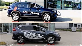 New 2019 Toyota RAV4 AWD vs Honda CR-V AWD - 4x4 test on rollers