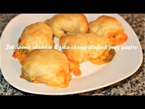 Jalapeno, cheddar & feta cheese stuffed puff pastry recipe