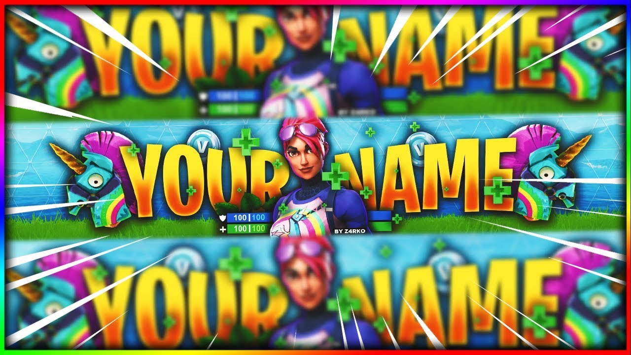 FREE BANNER TEMPLATE FORTNITE BRITE BOMBER UNICORN YouTube