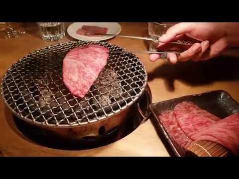 Live Wagyu grilling at restaurant Sumibiyakiniku Nakahara in Tokyo, Japan