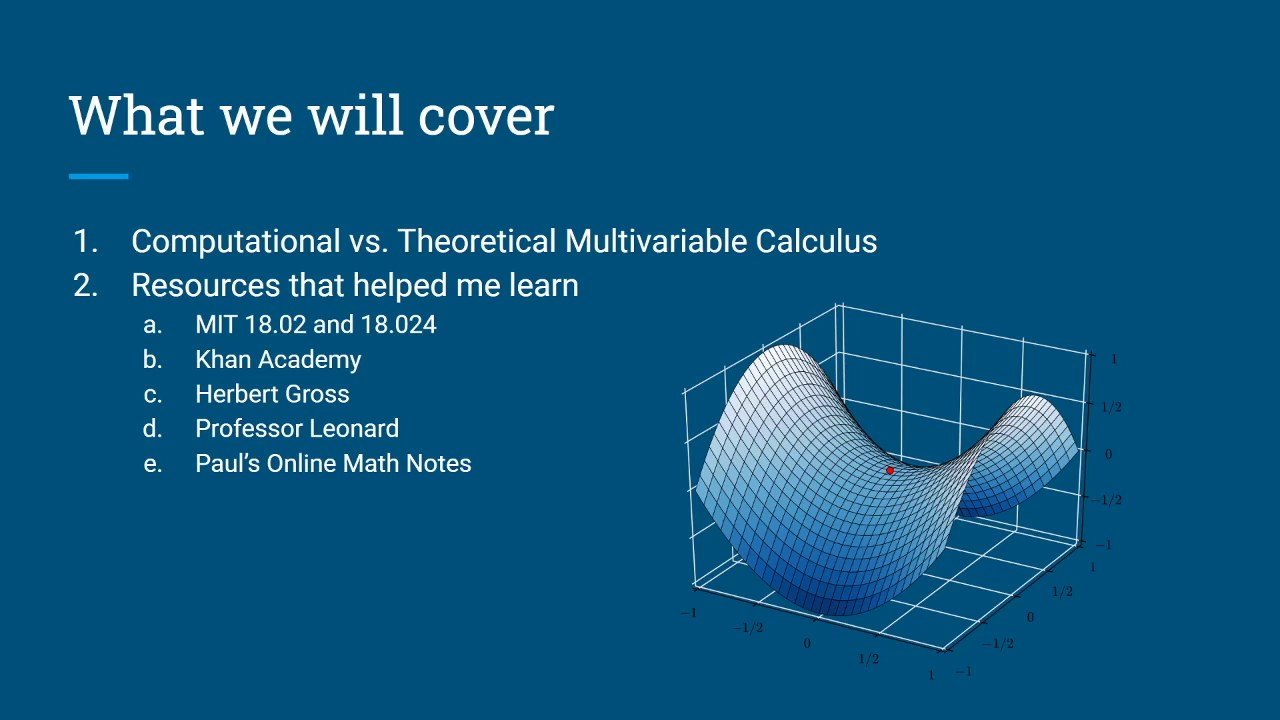 Self Study Multivariable Calculus Youtube The calculator below solves a math equation modulo p. self study multivariable calculus