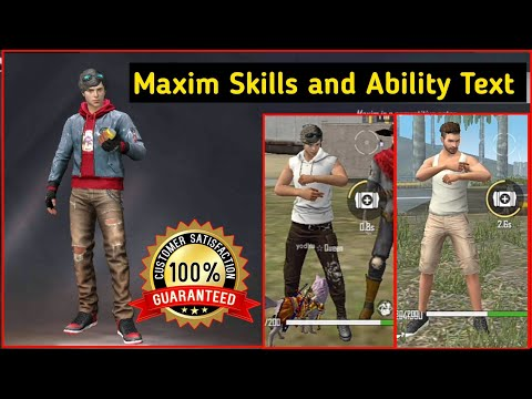 Maxim Character Skills and Ability Live Test   Maxim Free Fire   Free Fire Best Character 2020 Hindi