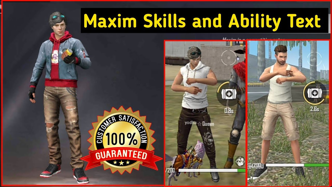 Maxim Character Skills And Ability Live Test Maxim Free Fire Free Fire Best Character 2020 Hindi Youtube
