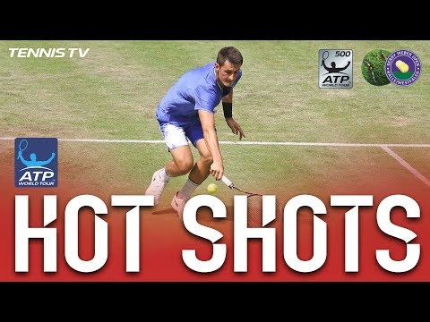 Hot Shot: Tomic Hits Backhand Down The Line In Halle 2017