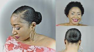 STUBBORN HAIR,  SHORT 4C NATURAL , SLEEK LOW BUN
