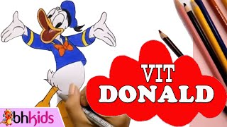 Dạy Bé Học Vẽ Tô Màu Vit Donald | How To Draw Donald Duck