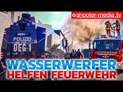 [EINMALIGER & EINZIGARTIGER BRANDEINSATZ MIT 8 WASSERWERFER] Großbrand + Feuerwehr + Polizei [E]