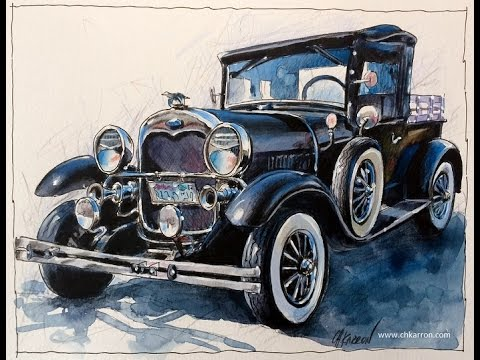 pen-line-watercolor-and-colored-pencils-speedpaint-oldie-car-illustration-by-ch.karron