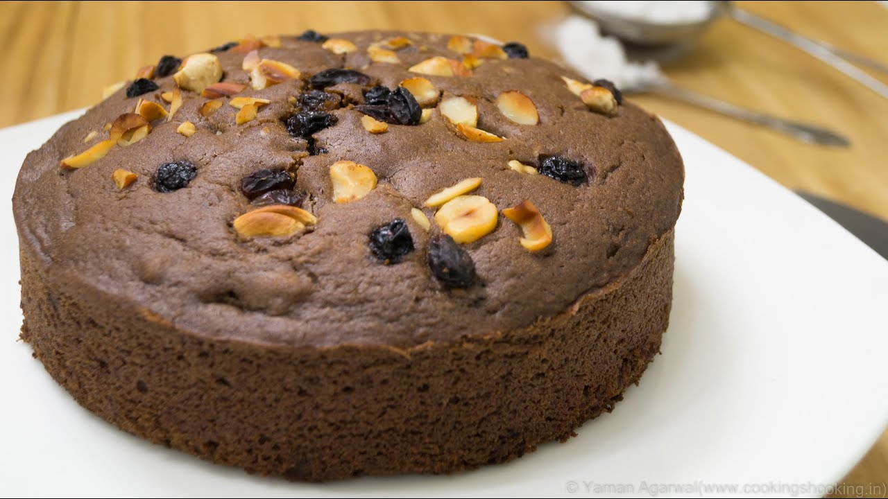 Pressure Cooker Eggless Chocolate Nuts Cake Recipe