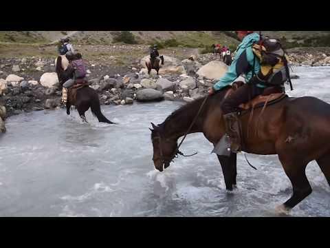 Glacial stream crossing on horseback in Patagonia