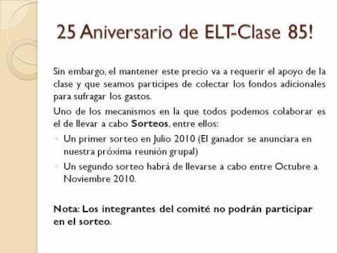 Plan Revisado - 25 Aniversario Clase Graduada 1985 Eladio Tirado Lopez, Aguada.wmv